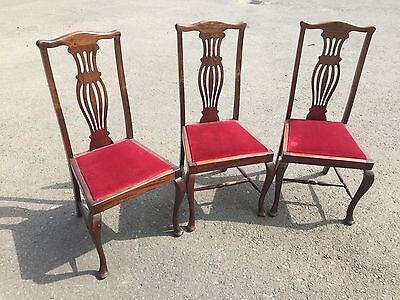 3 Mahogany Dining Chairs Queen Anne Style (7158)