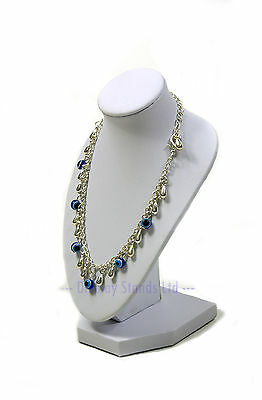 White Leatherette Necklace Jewellery Display Small Bust Stand 15cm tall (G214WL)