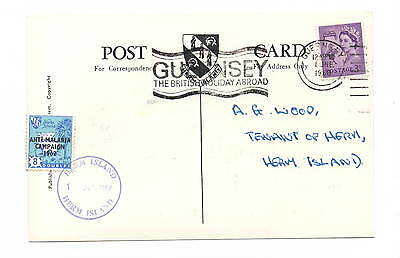 Herm Island 1962 Anti-Malaria Campaign 8d on postcard with map posted Guernsey s