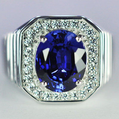 8.03 g. AWESOME SILVER 925  RING BLUE SAPPHIRE WITH WHITE CZ SIZE#8.5