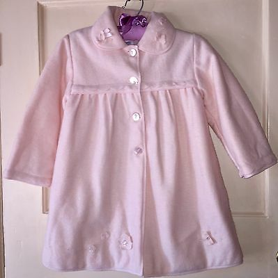 Baby Graziella Pink Pure Merino Wool Applique Coat Age 18 months - 2 years 2A