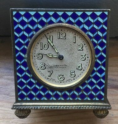 Lovely Vintage Zenith 8 Day Travel Clock With Geometric Enamel Case