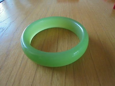 Bangle Green Jade Jadeite 3 inches across,cold,see my fingers when hold to light