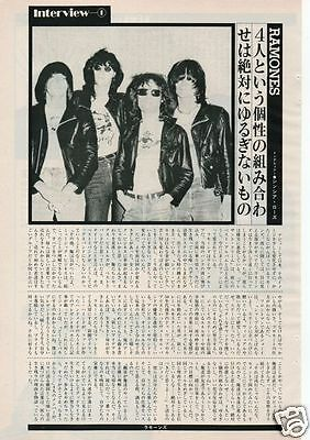 RAMONES small interview 1982 CLIPPING JAPAN MAGAZINE OS 2A
