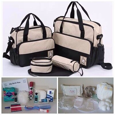 Pre-packed 5 Pc BLACK Maternity Hospital Changing Bag - Mum & Baby (unisex)