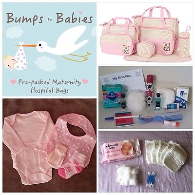 Luxury PINK Pre-packed 5 Pc Maternity Hospital Changing Bag Mum & Baby GIRL
