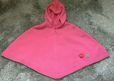 Gorgeous La redoute o.k.a.o.u Pink Knitted Hooded Poncho 4-6 yrs 110cm new