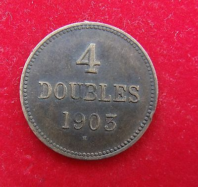 1903 Edward VII Guernsey 4 Doubles 1 Half Penny Britiish Coin Guernsey