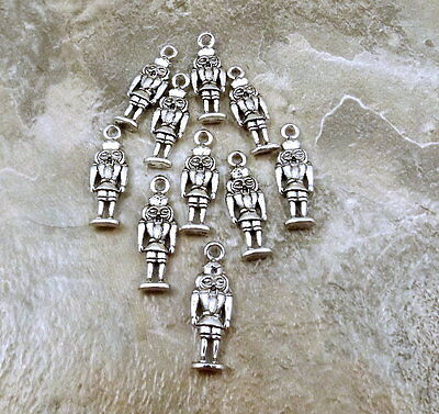 Ten (10) Pewter Nutcracker King Charms - 0085