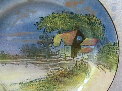 RARE Gorgeous ROYAL DOULTON 1920s 30s hand painted plate Country Scene Cottages