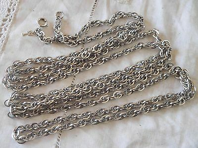 Lovely LONG Vintage 1960s Silver CHAIN Necklace by TRIFARI