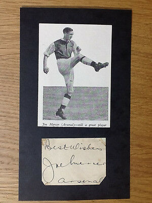 Superb Joe Mercer signed card Arsenal autograph & picture 1946-1954