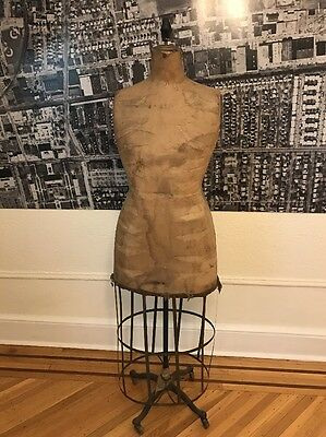 Vintage Mannequin With Dress Form Cage Antique Rotates