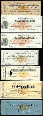 1870s to 1901 Pennsylvania BANK CHECK With Printed Revenue ~ LOT OF 7
