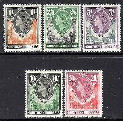 Northern Rhodesia QE2  1953 (Top 5 Values) 1s to 20s SG70-74 LM/Mint