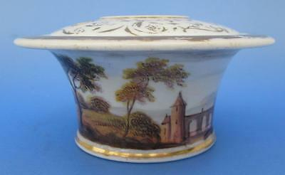Antique Porcelain Inkwell Quill Pen Holder Hand Painted