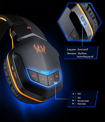 EACH NFC Wireless Bluetooth 4.1 Headphone 3.5mm Stereo Gaming PC iPhone Headset