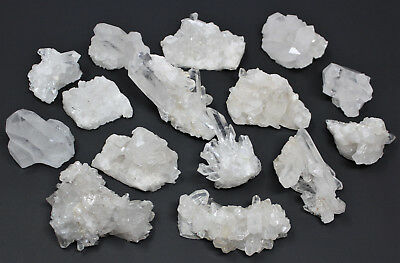 Bulk Natural Clear Quartz Crystal Clusters: 9-14 Piece Box Lot