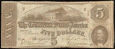 1863 $5 Dollar Bill Confederate States Currency Civil War Note Csa Paper Money