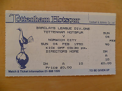 Unused Directors Home ticket Spurs v Norwich City 1990 Div One