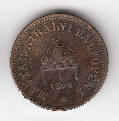 Hungary 2 Filler 1896 Crown Copper    273D          By Coinmountain