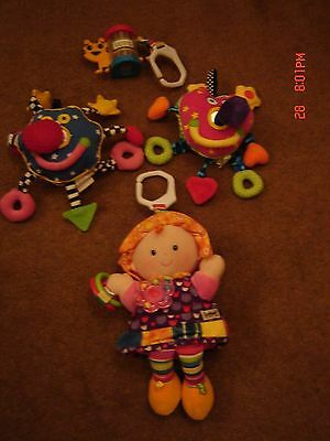 LAMAZE activity doll & rattle and WHOOZIT soft activity toys (x2)