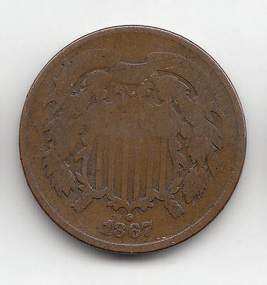 usa 2 CENTS 1867 COPPER SHIELD    197D     BY COINMOUNTAIN