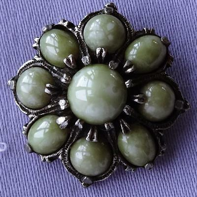 Vintage Small GREEN Agate Marble Cabochon CELTIC Brooch