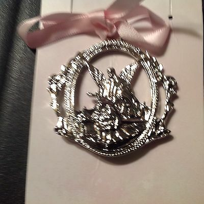 Baby crib medal pink bow Guardian Angel Silver Cross Infant Decoration