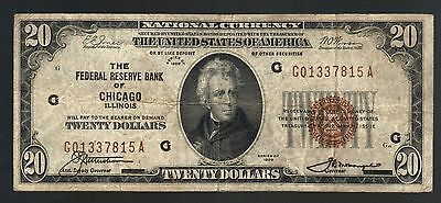 $20 DOLLAR 1929 CHICAGO IL National Currency Bill USA Federal Reserve Bank Note