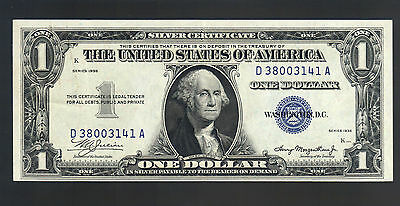 $1 Dollar 1935 PLAIN DOUBLE DATE SILVER CERTIFICATE Old Blue Seal US Paper Money