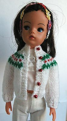 White & red pearl Sindy or Patch DOLLS Christmas cardigan with a fair isle yoke