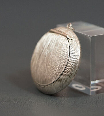 Antique German Lutz&weiss Fine Silver Brushed Surface Round Chatelaine Pill Box