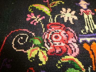 Antique Vintage GREEK Needlepoint Tapestry Pillow Cover Black Pink HANDMADE Case