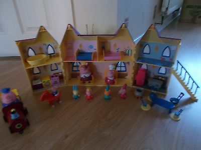 Peppa pig deluxe castle with figures,furniture and Train