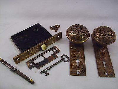 Antique Cast Brass Door Knob Set Mortise Lock Key Door Set    #686