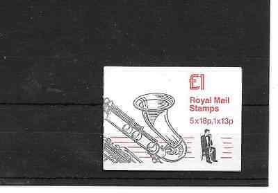 GB 1987 Musical Instruments #3 Folded £1 Booklet - FH 7 - Cyl Nos
