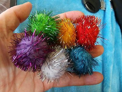 SET OF 6 TINSEL GLITTER POMPOM CAT OR KITTEN BALLS TOYS IRRISISTABLE 3.5cm PUSS