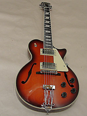 Johnson Jh-100 Delta Rose Lp Size Hollow Body Electric Guitar Wine Red Burst