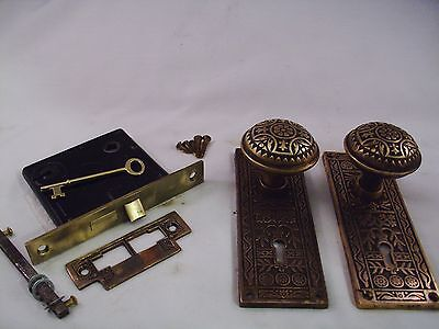 Antique Brass Door Knob Set Mortise Lock Key Door Set  #687