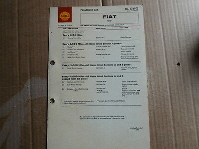 Fiat 500D Shell Lubrication Chart Service Guide X22