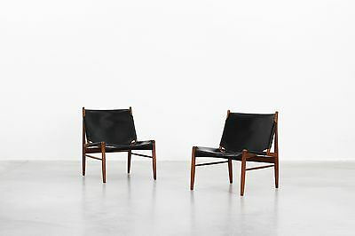 Rare pair of Hunting Lounge Chairs by Franz Xaver Lutz for WK Möbel, 1958