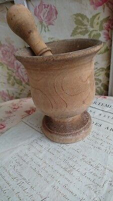 CHARMING ANTIQUE FRENCH RUSTIQUE FARMHOUSE PINE CUISINE PESTLE AND MORTAR c1900