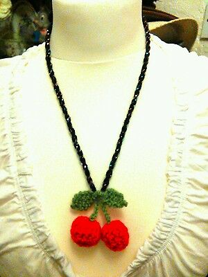 crochet red cherries necklace