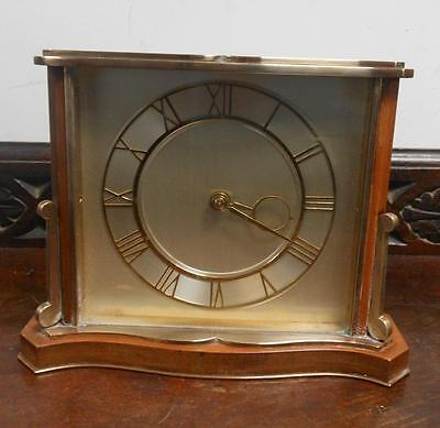 pretty RETRO brass and walnut smiths mantel clock
