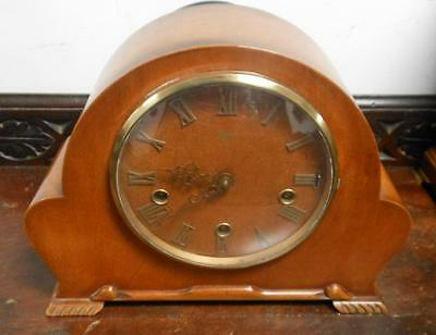 walnut cased westminster chimes mantel clock by smiths