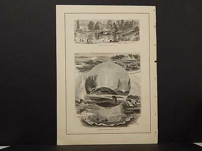 Antique Engravings, Atlas, 1873, Double Sided, India, Siam, Yellowstone, R4#02