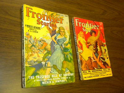 (2) FRONTIER STORIES 1948 Spring and 1950 Spring PULP magazines western gga LOT