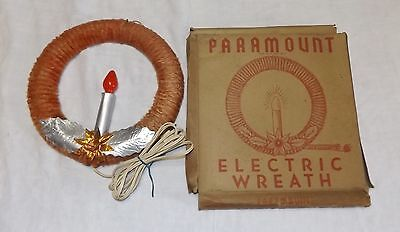 Vintage Paramount Lighted Chenille Christmas Wreath Working in Box