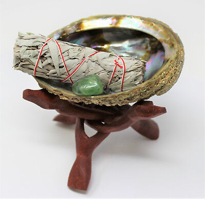Abalone Shell Smudge Kit: Wooden Tripod White Sage Stick Fluorite Tumbled Stone